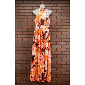 XTAREN Floral Halter Neck Maxi Dress Sz Small NWT